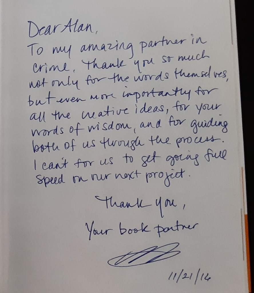 Handwritten letter from the book partner.